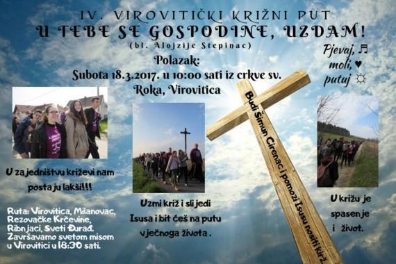 RUTA, NAPOMENE I SAVJETI ZA VIROVITIČKI KRIŽNI PUT KOJI KREĆE 18.3.2017. U 10:00 SATI